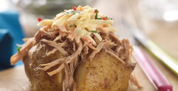 Pulled pork in a spicy slaw jacket