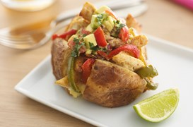 Mexican jacket potato with chicken & avocado salad